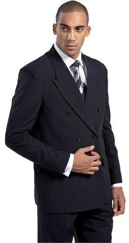Men's High Quality Double Breasted Suit  Black White 38R~58L