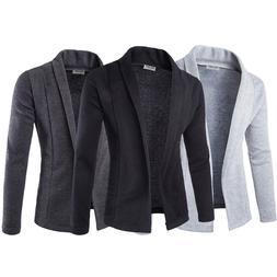 Men's Lapel Collar Casual Formal Cardigan Suit Blazer Coat S