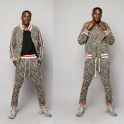 Men's Leopard Track Suit Set with Waistband Track Pants&Jack