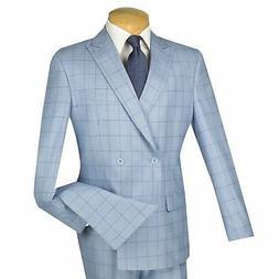 VINCI Men's Light Blue Windowpane Double Breasted 4 Button S