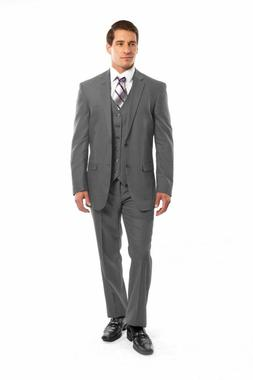 Men's Light Gray 3 Piece 2 Button Pinstripe Suit Modern Fit