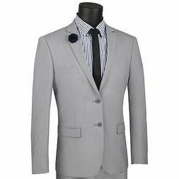 Vinci Men's Light Gray Stretch Wool Feel 2 Button Extreme Sl
