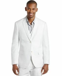 Perry Ellis Men's Linen Suit Jacket, Bright White, 44/X-Larg