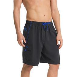 """Speedo Men's Marina Ii Volley 20"""" Bottom, Black/Atlantic Blu"""