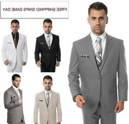 Men's Modern Fit Suit Two Button Solid Formal Two Piece Jack