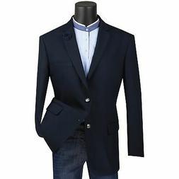 Vinci Men's Navy Blue Classic Fit Notch Lapel Sport Coat Bla