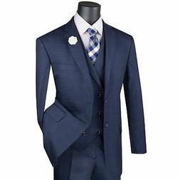 VINCI Men's Navy Blue Glen Plaid 3 Piece 2 Button Classic Fi
