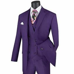 VINCI Men's Purple Glen Plaid 3 Piece 2 Button Classic Fit S