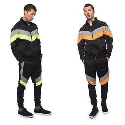 Men's Reflective Neon Jogging Track Suits Track Pants&Jacket
