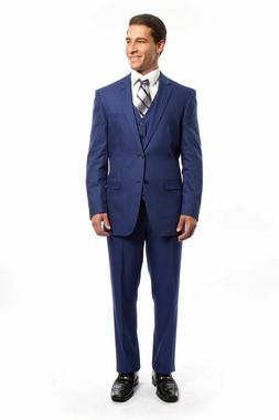 Men's Royal Blue 3 Piece 2 Button Pinstripe Suit Modern Fit