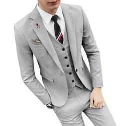 Men's Slim Business Formal Wedding Coat Pants Vest Leisure B