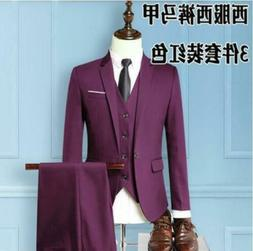 Men's Slim Business Formal Wedding Coat 3-Piece Leisure Blaz