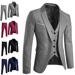 Men's Slim Business Wedding Party Suit 3 Piece Jacket Vest a