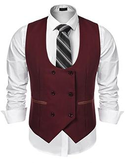 COOFANDY Men's Slim Fit Dress Suits Double Breasted Solid Ve