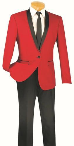 Men's SLIM FIT Formal Tuxedo Single Breasted 1 Button Prom W