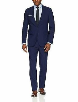 Cole Haan Men's Slim Fit Suit, Solid Blue, 42, Solid Blue, S