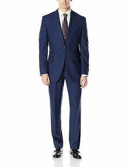 Perry Ellis Men's Slim Fit Suit with Hemmed Pant, Blue,, Blu