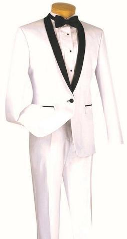 Men's Slim Fit Tuxedo Suit Single Breasted 1 Button White Pr