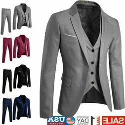 Men's Slim Formal Business Wedding Party Suit 3 Piece Jacket