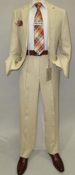Men's Summer Linen Suit Apollo King Half Lined 2 Button Euro