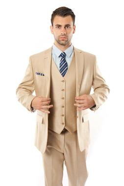 Men's Tailored Fit Suit Two Button Textured Three Piece Jack