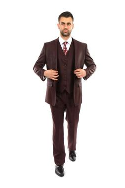 Men's Tailored Fit Textured Suit Two Button 3 Piece Vested F