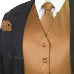 MEN'S Tan Gold Solid Tuxedo Suit Dress Vest Waistcoat and Ne