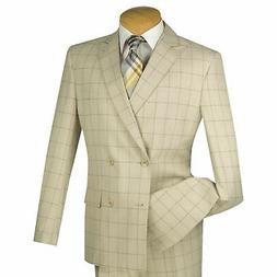 VINCI Men's Tan Windowpane Double Breasted 4 Button Slim Fit
