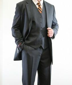 Men's Three Piece vested 2 Button Pinstripe Suit Formal Mode