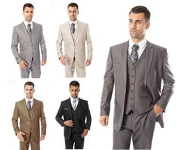 Men's Three Piece Vested Suit Modern Fit Two Button Formal S