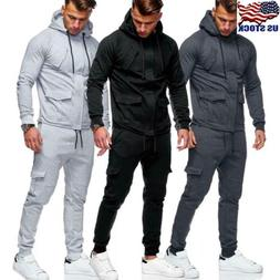 Men's Tracksuit Jogging Hoodie Coat Jacket +Trousers Pants S