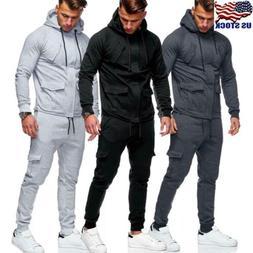 Men's Tracksuit Jogging Hoodie Coat Jacket +Trousers Pants S