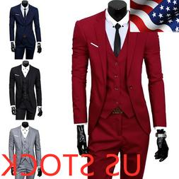 Men's Tuxedos Jackets + Pants Slim Fit Business Formal Party