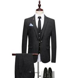 Men's Wedding Suit Slim Business Formal Coat 3-Piece Leisure