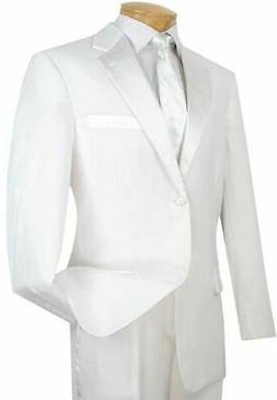 Men's White Classic Fit Formal Tuxedo Suit w/ Sateen Lapel &