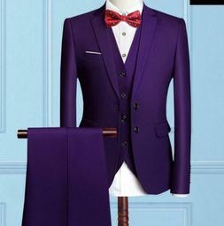 Men Slim Business Formal Wedding 3-Piece Suit Leisure Blazer