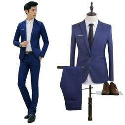 Men Slim Fit Formal Business Tuxedos Suit Blaze Coat Pants P