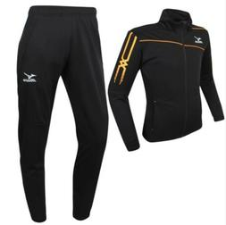 Mizuno Men Slim Fit Knit Training Suit Set Black Orange Socc