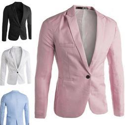 Men Slim Fit One Button Formal Suit Blazer Long Sleeve Busin