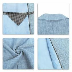 Mens 3 Piece Linen Suit Set Blazer Jacket Tux Vest Suit Pant
