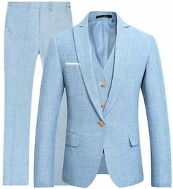 Mens 3 Piece Linen Suit Set Blazer Jacket Tux Vest Suit Pant