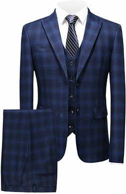 MOGU Mens 3 Piece Slim Fit Blue Plaid Suits Blazer+Vest+Pant