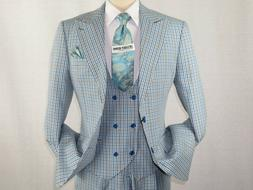 Mens 3pc suit ROYAL DIAMOND Vested houndstooth English Plaid