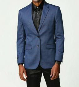 Mens Blue Windowpane 2 Button Slim Fit Blazer Jacket Sport C