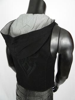 Mens Roar Brand Suit Vest Hoodie Black with Embroidery Slim
