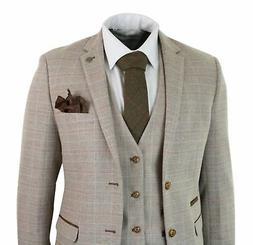 Mens Check Tweed Beige Brown 3 Piece Suit Wedding Prom Vinta