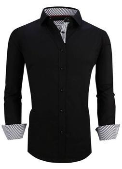 Alex Vando Mens Dress Shirts Regular Fit Long Sleeve Men, L1