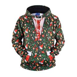 Mens Fake Two-piece Suit with Tie Christmas 3D Hoodie Hooded