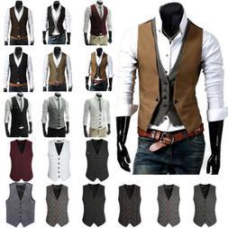 Mens Formal Dress Business Suit Vest Wedding Tuxedo Waistcoa