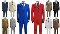 Men's Formal Slim Fit Suit 2 Piece Two Button Solid Colors